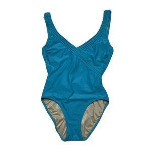 gottex swimsuit 8 blue one piece bathing suit vint